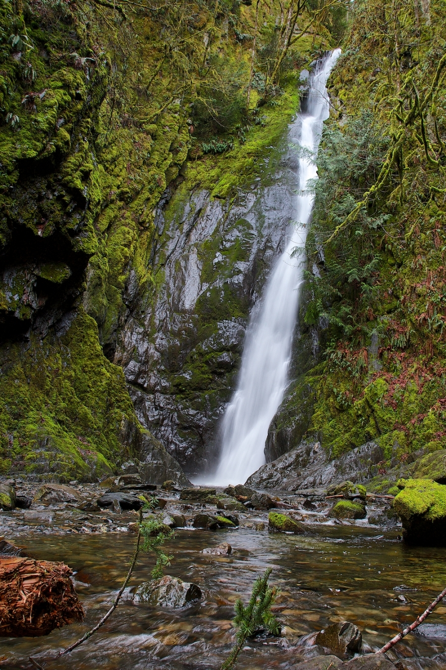 Niagara Falls - Goldstream Provincial Park, BC<br /> This waterfall is 45m tall which in terms of drop height is comparable to the 51meters of the Niagara falls located in Ontario.<br />